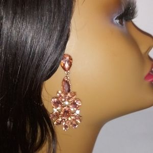 Beautiful Crystal Pink Crystal Statement Earrings